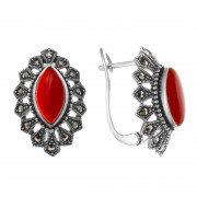 925 Sterling Silver pair earrings with carnelian and marcasite