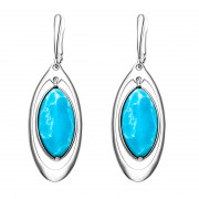 925 Sterling Silver pair earrings with larimar