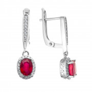 925 Sterling Silver pair earrings with rubin and cubic zirconia