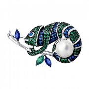 925 Sterling Silver brooches with pearl and cubic zirconia swarovski