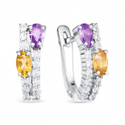 925 Sterling Silver pair earrings with amethyst and citrine