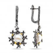 925 Sterling Silver pair earrings with pearl and white topaz