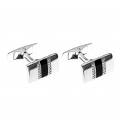 925 Sterling Silver cufflinks with cubic zirconia and enamel