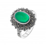 925 Sterling Silver women's rings with green agate and marcasite