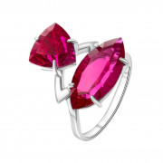 925 Sterling Silver women's rings with quartz pl. ruby and rubin
