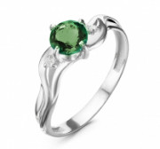 925 Sterling Silver women's rings with  and emerald