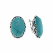925 Sterling Silver pair earrings with synthetic turquoise and fluorite