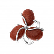 925 Sterling Silver women's rings with jasper and aventurine