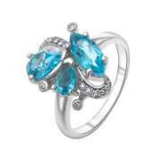 925 Sterling Silver women's ring with swiss topaz