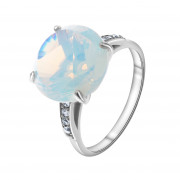 925 Sterling Silver women's rings with quartz pl. moon opal