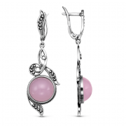 925 Sterling Silver pair earrings with pink quartz