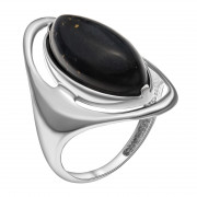 925 Sterling Silver women's rings with black agate