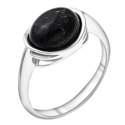 925 Sterling Silver women's rings with black agate and synthetic onyx