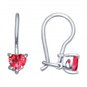 925 Sterling Silver pair earrings with cubic zirconia and corundum