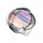 925 Sterling Silver women's rings with fluorite and synthetic turquoise