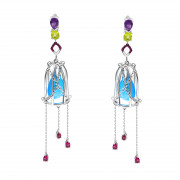 925 Sterling Silver pair earrings with rubin and chalcedony
