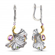 925 Sterling Silver pair earrings with topaz and garnet