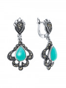 925 Sterling Silver pair earrings with amazonite and chrysoprase