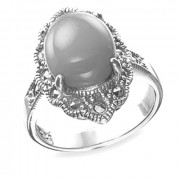 925 Sterling Silver women's ring with topaz and marcasite