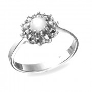 925 Sterling Silver women's ring with green agate and coral