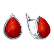925 Sterling Silver pair earrings with coral
