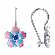 925 Sterling Silver pair earrings with cubic zirconia and enamel