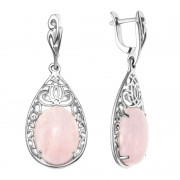 925 Sterling Silver pair earrings with malachite and pink quartz