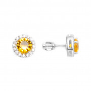 925 Sterling Silver pair earrings with cubic zirconia and