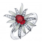 925 Sterling Silver women's ring with cubic zirconia and alpana