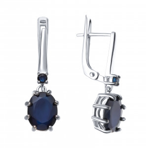 925 Sterling Silver pair earrings with  and sapphire