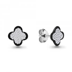 925 Sterling Silver pair earrings with glass and