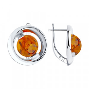 925 Sterling Silver pair earrings with  and amber