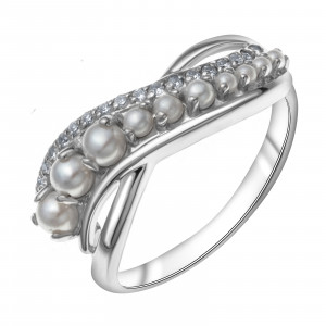 925 Sterling Silver women's rings with pearl and cubic zirconia swarovski