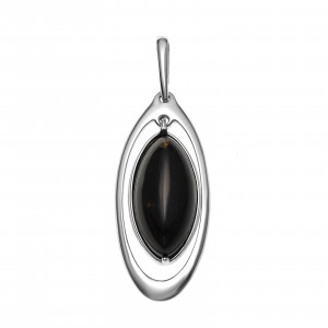 925 Sterling Silver pendants with black agate
