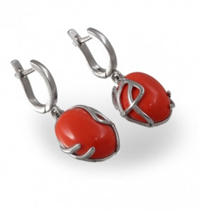 925 Sterling Silver pair earrings with lapis and coral