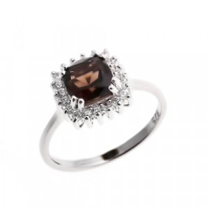 925 Sterling Silver women's ring with cubic zirconia and rauchtopaz