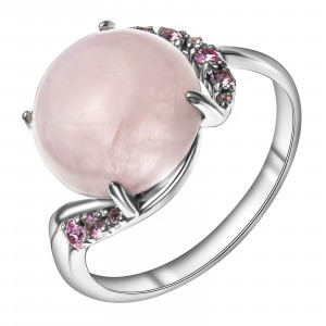 925 Sterling Silver women's rings with nano crystal and pink quartz