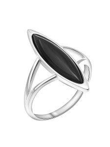 925 Sterling Silver women's rings with black agate and