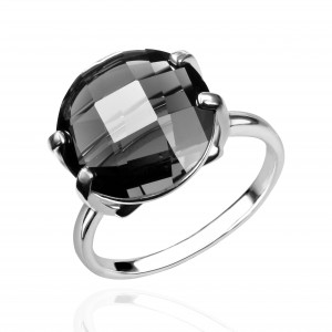 925 Sterling Silver women's rings with quartz pl. crystal