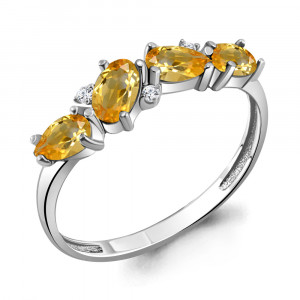 925 Sterling Silver women's rings with citrine and cubic zirconia