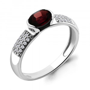 925 Sterling Silver women's rings with garnet and synthetic spinel