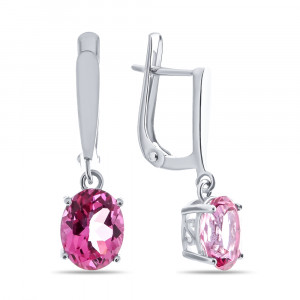 925 Sterling Silver pair earrings with pink topaz