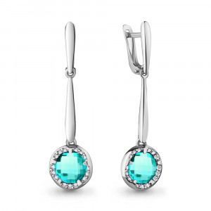 925 Sterling Silver pair earrings with cubic zirconia and nano-tourmaline
