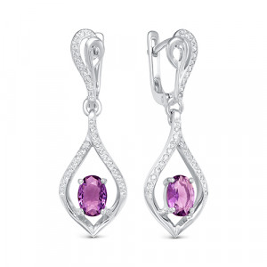925 Sterling Silver pair earrings with sapphire