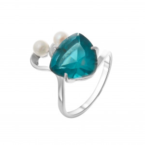 925 Sterling Silver women's rings with quartz pl. london topaz and pearl cult.