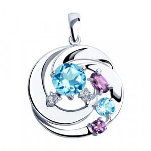 925 Sterling Silver pendants with amethyst and topaz