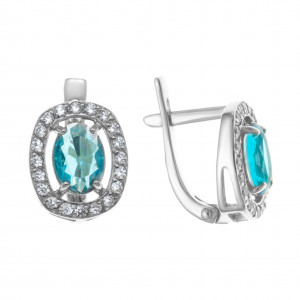 925 Sterling Silver pair earrings with  and cubic zirconia