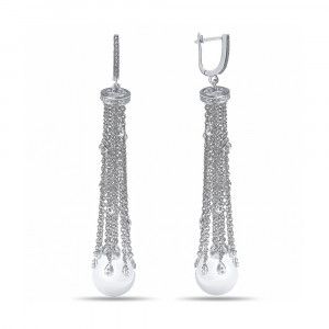 925 Sterling Silver pair earrings with  and mallorca