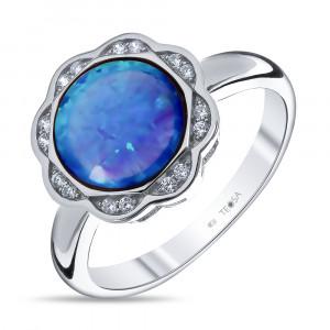 925 Sterling Silver women's rings with synthetic blue opal and cubic zirconia