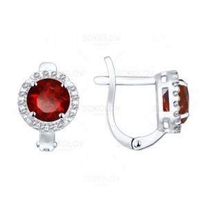 925 Sterling Silver pair earrings with garnet